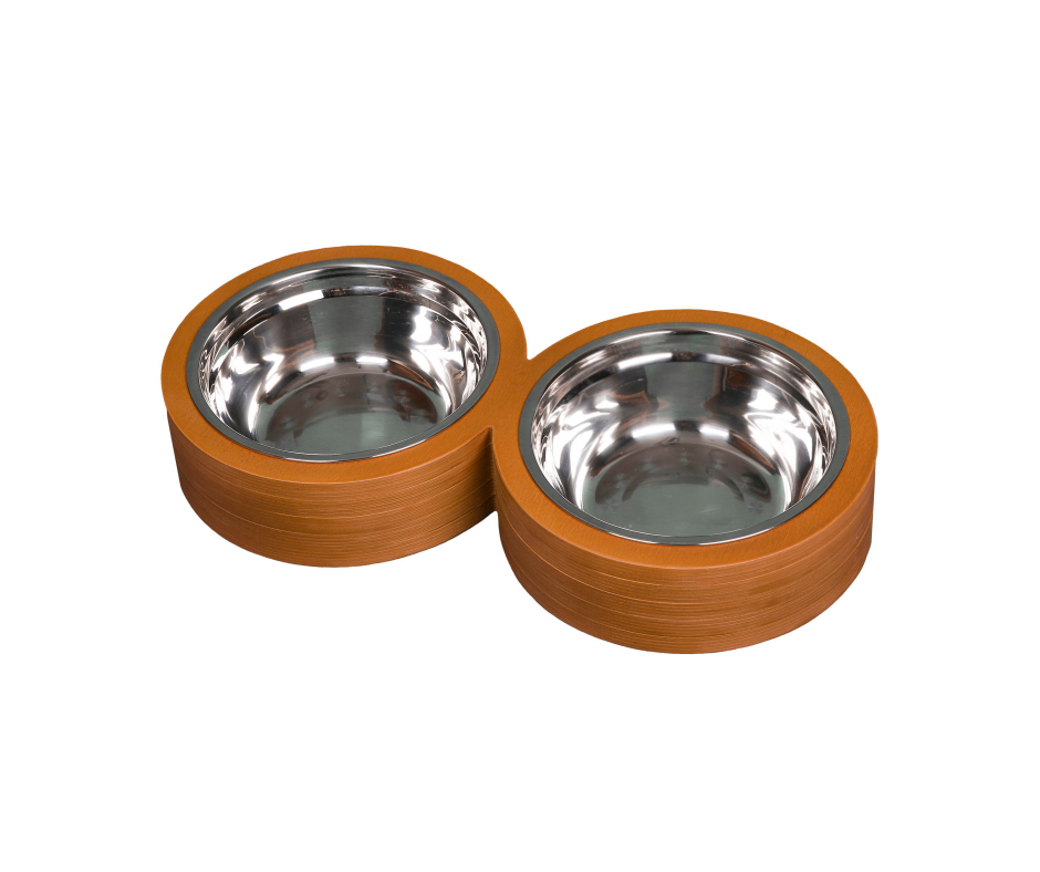 Double Round Basic Pet Bowl 18cm Dark Brown