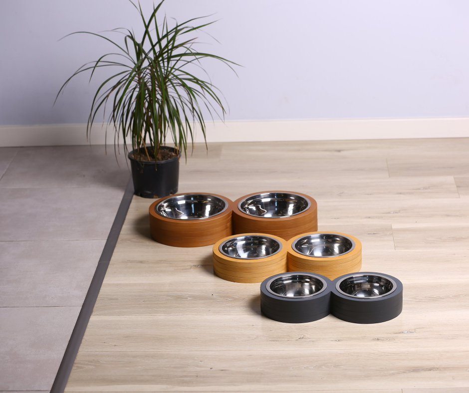 Double Round Basic Pet Bowl 22cm Gray
