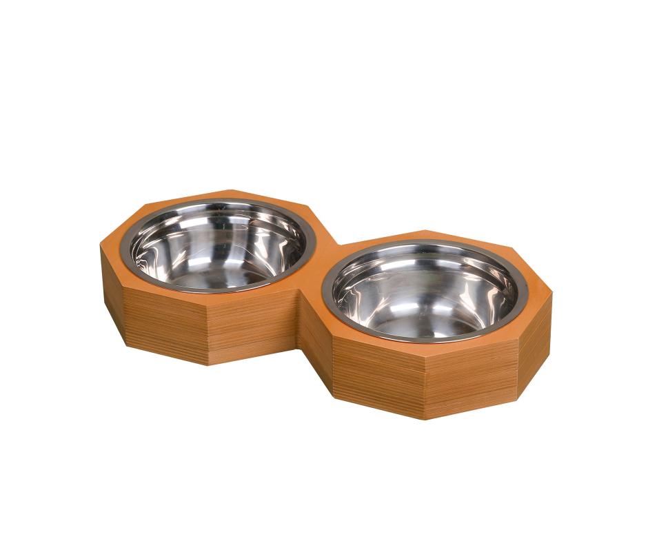 Double Round Hexagon Pet Bowl 18cm Light Brown