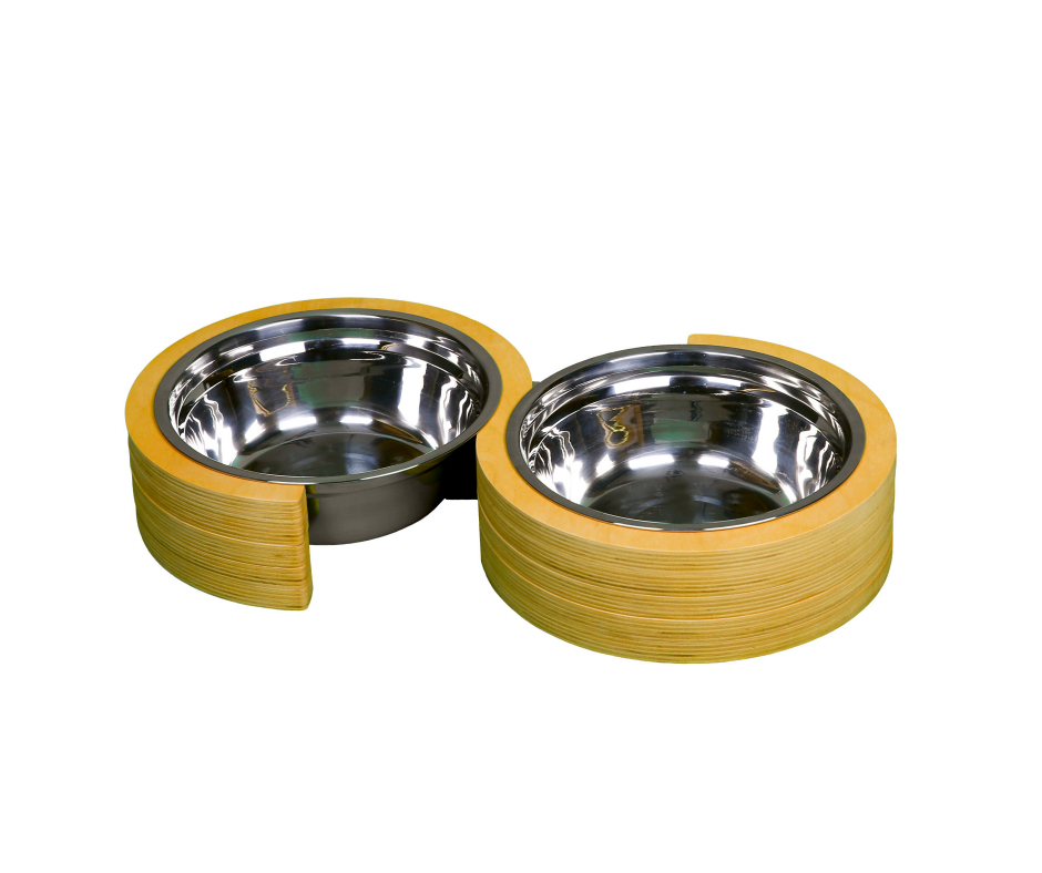 Double Round Infinity Pet Bowl 22cm Light Brown